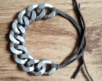 Chunky Curb Chain Bracelet with Suede Cord