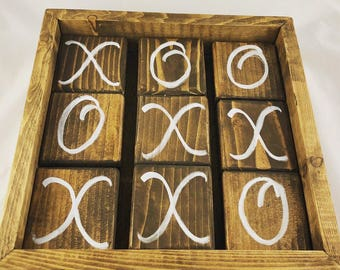 Jumbo rustic tabletop tic tac toe in dark walnut stain with hand painted script letters in acrylic white paint. Old school games. Wood game.