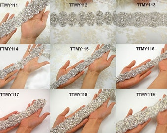 36 inches Rhinestone Applique Trimming Bridal Accessories Crystal Beading Patch Appliques  Wedding Dress Belt Bridal Gown Sashes  1 yard