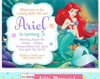 Little Mermaid Invitation, Little Mermaid Party, Little Mermaid Invite, Little Mermaid Birthday, Little Mermaid Birthday Invitation Disney