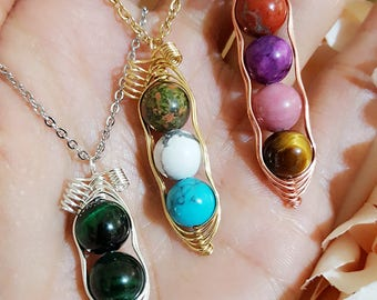 Customize Natural Stone Peapod Necklace, Peas in a Pod Necklace, Hand Wrapped with Natural Stones, Multicolor Available