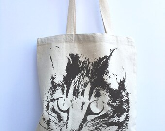 CAT - Eco-Friendly Market Tote Bag - Hand Screen printed (Ships FREE!)