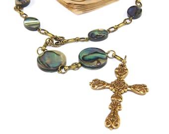 Christian Prayer Beads, New Zealand Paua Shell Anglican Pocket Rosary