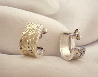 Solid Sterling Silver Huggie Earrings with 18K Gold