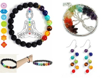 Chakra Set- Tree of Life Pendant- Earrings - Lavabead Bracelet Meditation , Protection, Energy, Healing- Reiki Infused- Yoga