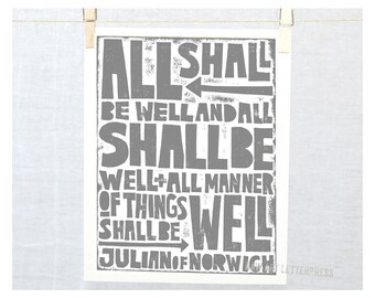 Julian of Norwich - All Shall Be Well - Print - Wall Art - Sympathy - Get Well Gift - Kitchen Art- Catholic - Christian - Pharase sign - Art