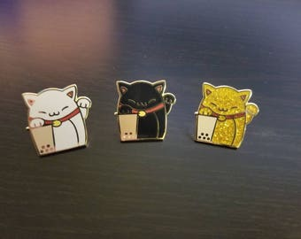 Maneki Boba Hard Enamel Pin - Neko Cat Milk tea (White, Black, and Gold)