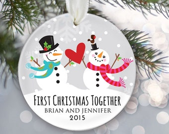 First Christmas Together Personalized Christmas Ornament Just Married Christmas Ornament Snowman couple Names & Date Snowmen Ornament OR275