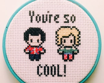 """True Romance - You're So Cool! - 4"""" Cross Stitch Embroidery Hoop"""