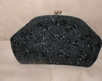 Vintage JOSEPH Black Beaded Evening Clutch Purse