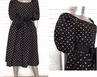 Vintage Black and White Polka Dot 1980's Party Dress Puff Sleeve 80's Style Medium