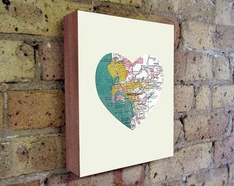 San Diego - San Diego Art - San Diego Map - San Diego Map Art - City Heart Map - Wood Block Art Print
