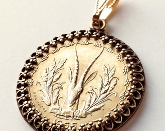 Unique Gold Colored Coin Pendant, Antelope Coin Jewelry, Western Africa Coin Pendant, African Jewelry, African Necklace, African Pendant