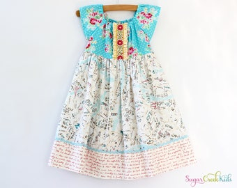 SALE! Map of Paris France, Girl's Blue Floral Dress, Sizes 12-18mo, 2T, 3/4T, 5/6, 7/8,  Ready To Ship