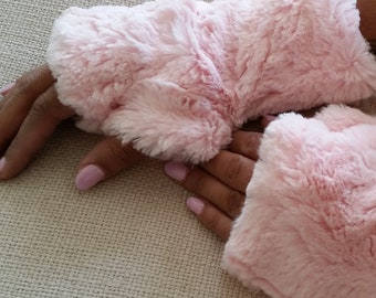 Pink Faux Fur Half Mittens, Lined Fingerless Gloves. Mother's Day Gift