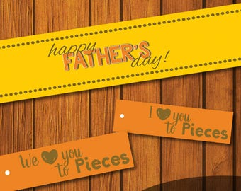 Mason Jar Printable Label / Father's Day / We love you to peices / Jar Label / Instant Download / I love you / Dad / Orange and Yellow