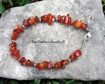 Carnelian Bracelet - Carnelian And Silver Beaded Bracelet - Natural Healing Gemstone Bracelet - Red Orange Gemstone - Two Feathers Jewelry