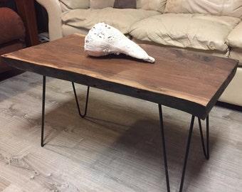 Live Edge Walnut Coffee Table with Black Steel Hairpin Legs