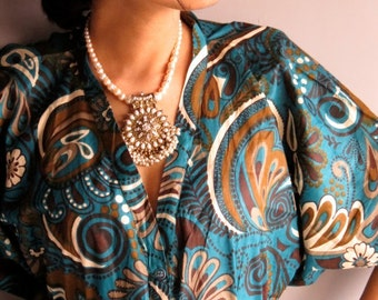 Blue Brown front button caftan perfect as bridesmaids robes, getting ready, beach coverup, dressing gown, loungwear, gift for her