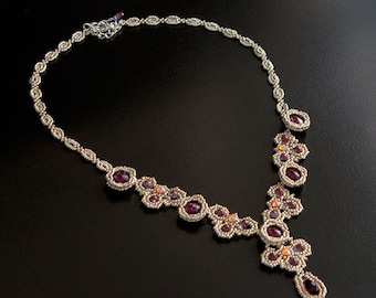Silver Necklace with Amethyst Swarovski Crystal Flowers, Clover Shaped Orange Crystals and Violet Drops. Evening or Wedding Necklace S88