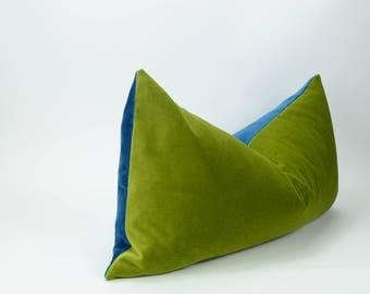 green and blue velvet pillow case // blue green pillow cover // colour block pillow