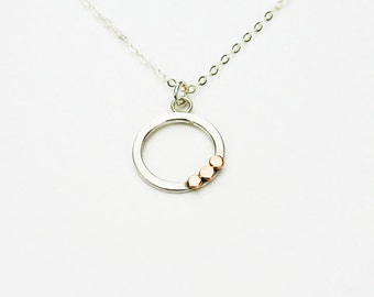 Open Circle Necklace Silver. Silver and Gold Circle Pendant with 14k Rose Gold. Silver and Rose Gold. Handmade Unique Silver Jewelry