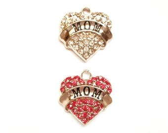 1 Antique Silver Mother's Day Heart Charms With Pink Or Clear Rhinestones - 27-14