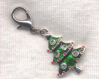 Christmas Tree Stitch Marker Clip Enameled Rhinestone Charm Single /SM247B