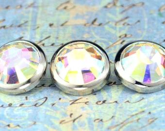 3 Large Aurora Borealis Crystal Hair Snaps - Round Silver Rim Edition -- Made with Swarovski Crystal Element Rhinestones