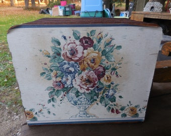 Vintage 1960s to 1980s Organizer Paper/Bills Craft Room/Desk Accessory Scrap Booking Paper Organizer Large With Flowers/Floral Motif Wood