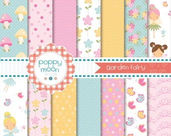Garden fairy, digital paper pack
