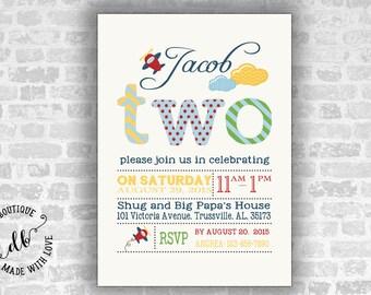 Two Birthday Invitation, 5x7 Invitation Card, Second  Birthday Invitation, Boy Invitation, DIY, Printable, Colorful