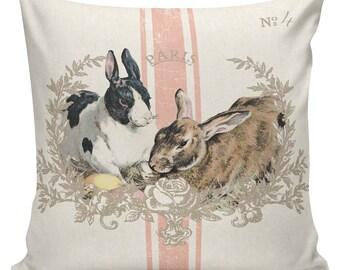 Easter Pillow, Easter Pillow Cover, Easter Rabbits, Bunny, Feedsack Stripe, Cotton, Spring Throw Pillow Cover. #SP0203 Elliott Heath Designs