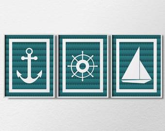 Nautical Art, Nautical Prints, 3 Piece Print Set, Sailing Art, Beach Art, Beach House Decor, Bathroom Decor, Nautical Nursery, 0319