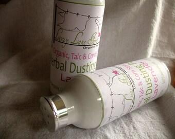 Lavender Bath Powder, Natural Powder, Body Powder, Foot Powder Organic Talc corn starch free refillable metal bottle