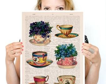 Vintage tea cups collection poster, Tea cup art, Kitchen art, art, Wall art Kitchen wall art, TVH230PA3