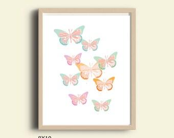 Butterfly Art, nursery printable art, nursery decor, Butterflies Wall Art, Nursery Butterflies,  nursery Butterfly wall art, baby girl art