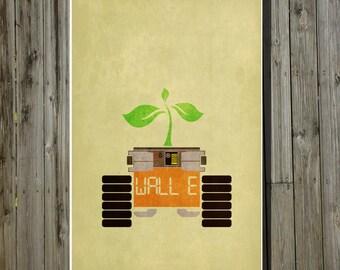 Wall-E movie poster Pixar print Disney minimalist movie art chilren's room decor geekery nursery art