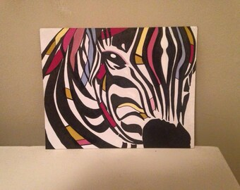 Zebra gouache painting - available in 8x10 and 11x14