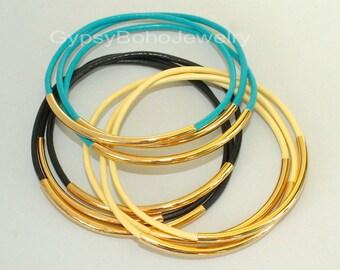 3 Leather Gold Tube Leather BANGLE Bracelets - Custom PICK Color / Size - Lead Free Leather Tube Bangle Bracelets -  Usa