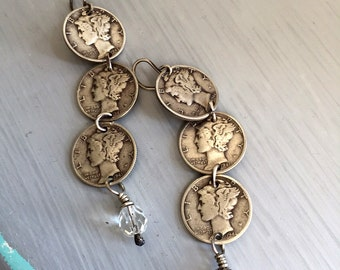 Sterling Silver Mercury Dime and Crystal Dangle Earrings