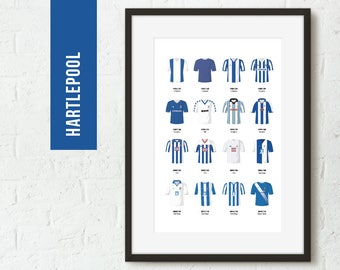 ICONIC Hartlepool Classic Kits Print, Football Poster, Football Gift, FREE UK Delivery