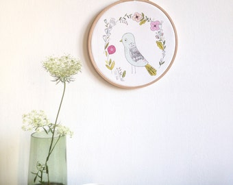 Bird and floral art print - Hoop art decor - Birds illustration framed in a wooden embroidery hoop -  Birds hoop art - Wall Art home decor