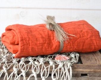 Orange Blanket, linen cotton Stroller Blanket, French country Orange blanket, Natural Mandarin, picnic blanket