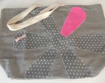 Shoulder bag large format flower/grey gray polka dot