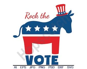 Rock The Vote - Svg, Dxf, Eps, Png, Jpg, Vector Art, Clipart, Cut File, Donkey, Democrat