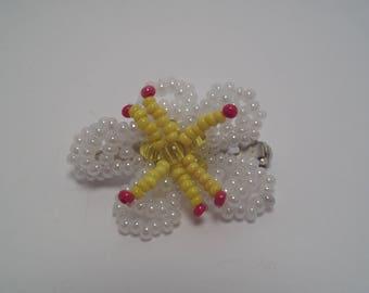 White cherry flower brooch
