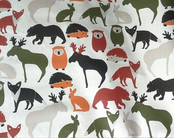 Tablecloth white green orange wild animals Kids decor Modern Scandinavian Design , napkins , runner , curtains , pillow covers , great GIFT