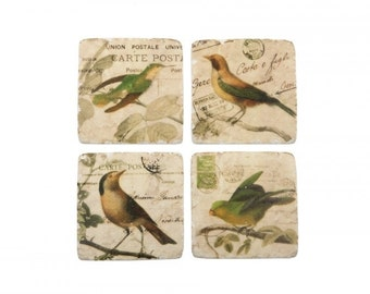 Ceramic Coaster Tiles with 4 Vintage Bird Design. Set of 4 Coasters. L559340