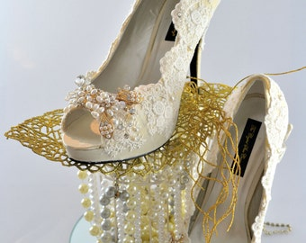 Swarovski crystal Peeptoe Vintage French Scallop Ivory Lace & Gold crystal pearl bridal Ivory Champagne High heel Platform shoe